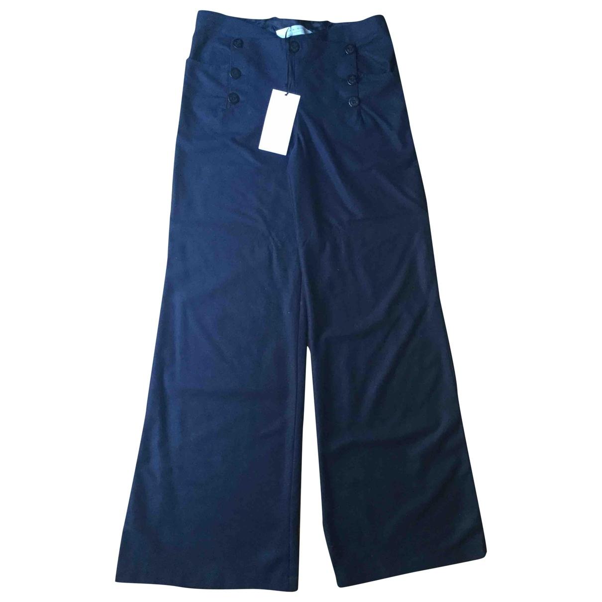 Zara \N Hose in  Blau Wolle
