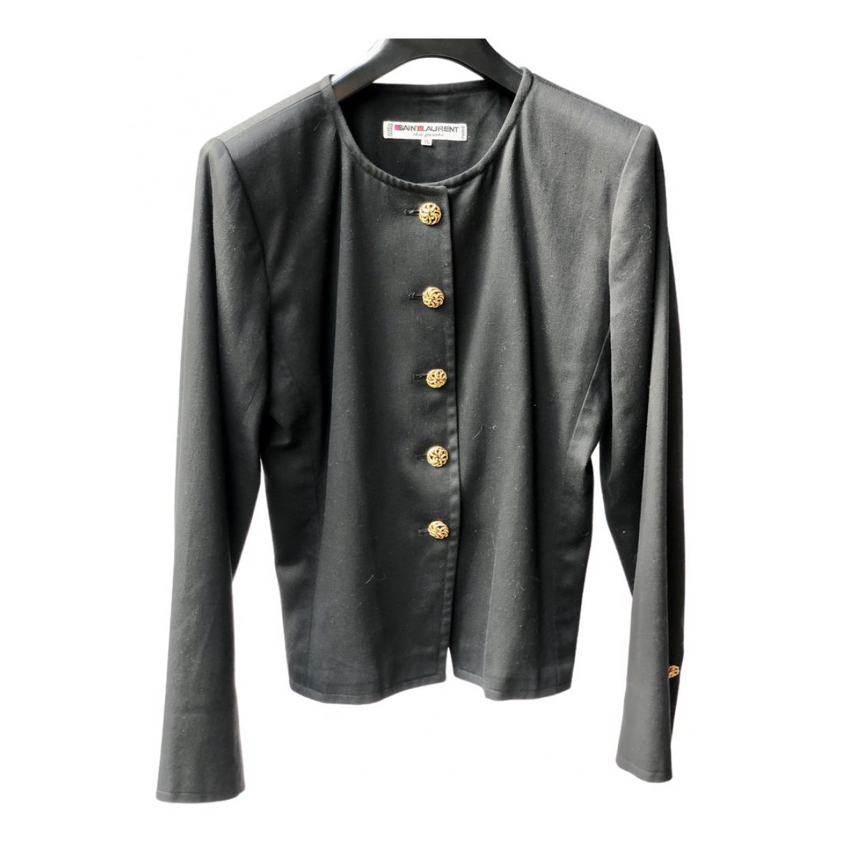 Yves Saint Laurent \N Black Cotton jacket for Women 36 FR