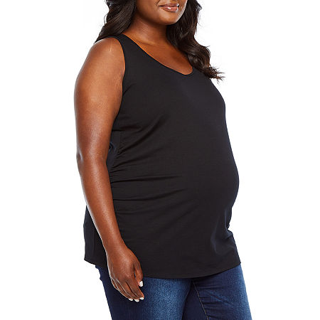 Belle & Sky Maternity Tank-Plus, 3x , Black