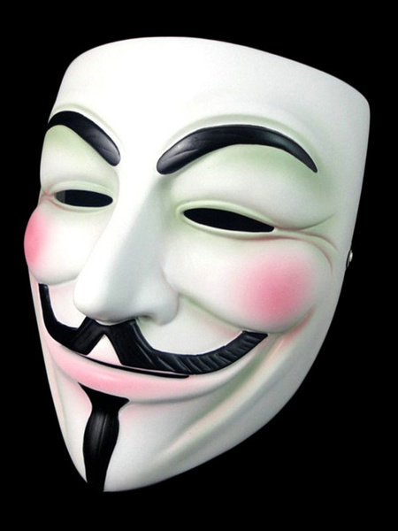 Milanoo Anonymous Mask V For Vendetta Guy Fawkes Halloween Cosplay Hacker Mask