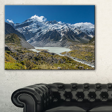 Designart Green And White Mountains New Zealand Canvas Art, One Size , Blue