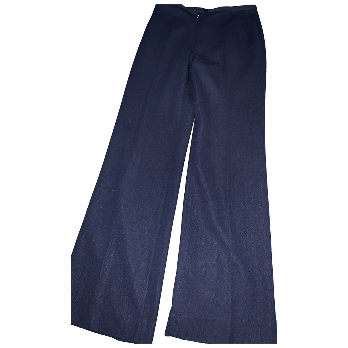 Non Signé / Unsigned \N Blue Wool Trousers for Women 44 IT