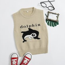 Toddler Boys Dolphin Graphic Sweater Vest