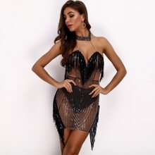 Halterneck Sequin Fringe Sheer Bodycon Dress With Panty