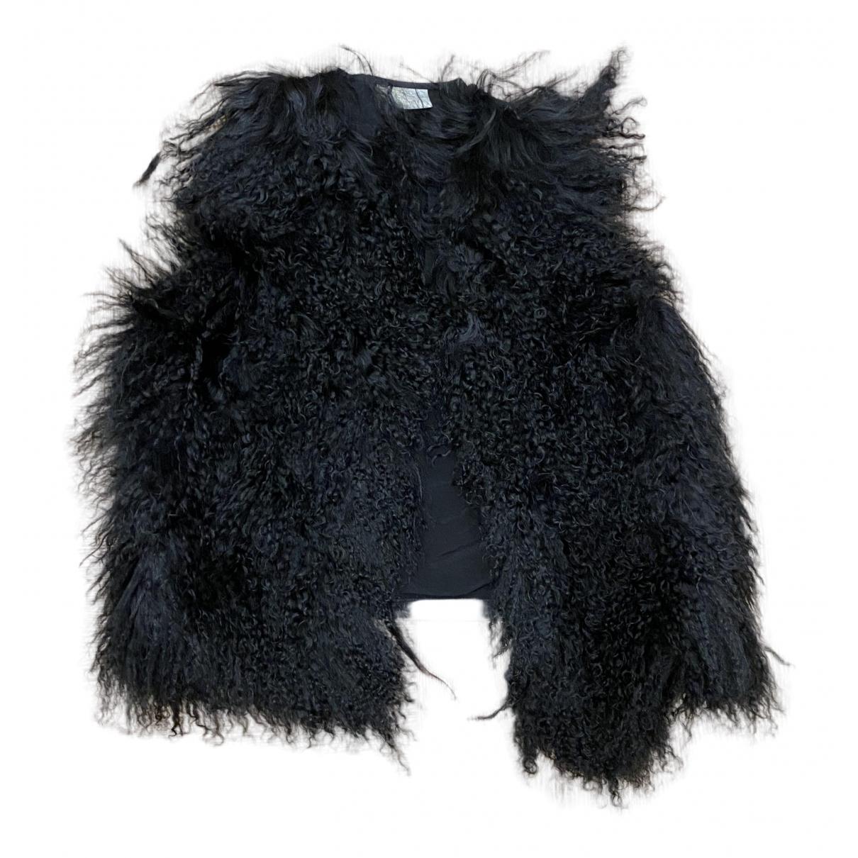 - Veste Hippie Chic pour femme en agneau de mongolie - noir
