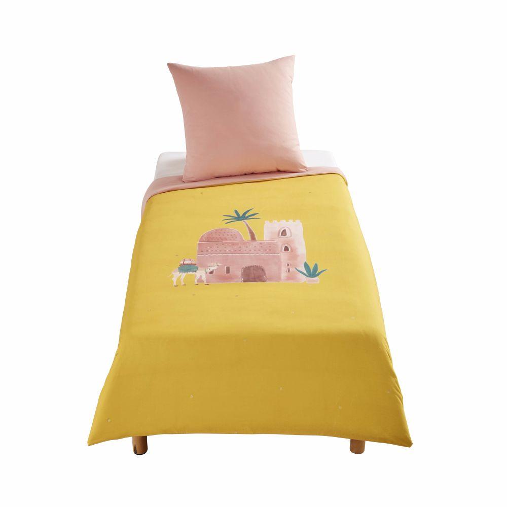 Kinderbettwaesche aus Baumwolle, rosa und senfgelb, bedruckt 140x200
