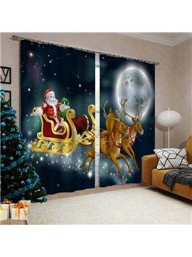 3D Christmas Printed Blackout Decorative Window Curtains Custom 2 Panels Drapes No Pilling No Fading No off-lining