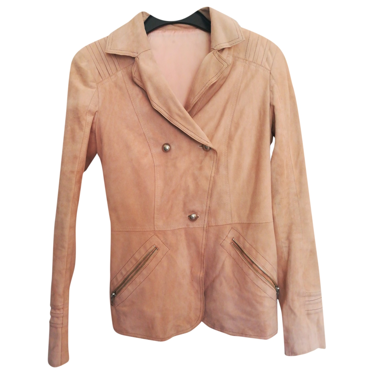 Non Signé / Unsigned \N Pink Leather jacket for Women 42 IT
