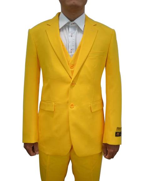 Alberto Nardoni Mens Vested 3 Piece Suit Yellow