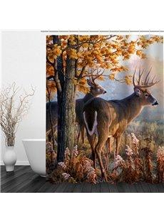 3D Deer Trees Printed Polyester Waterproof Antibacterial Eco-friendly Shower Curtain