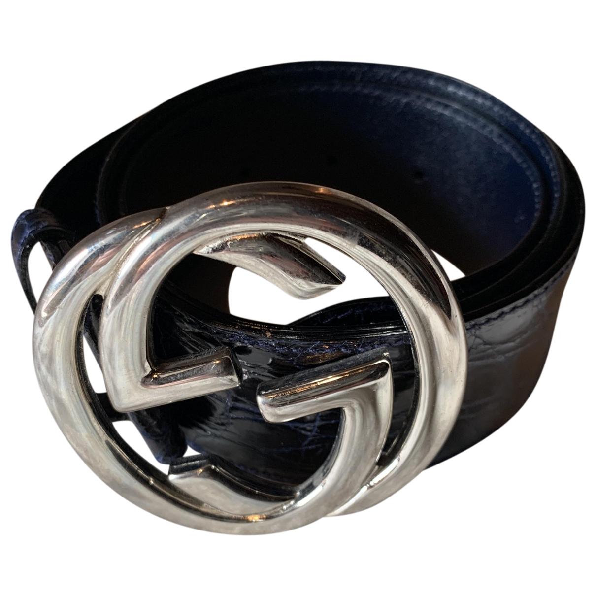 Gucci GG Buckle Blue Crocodile belt for Women 75 cm