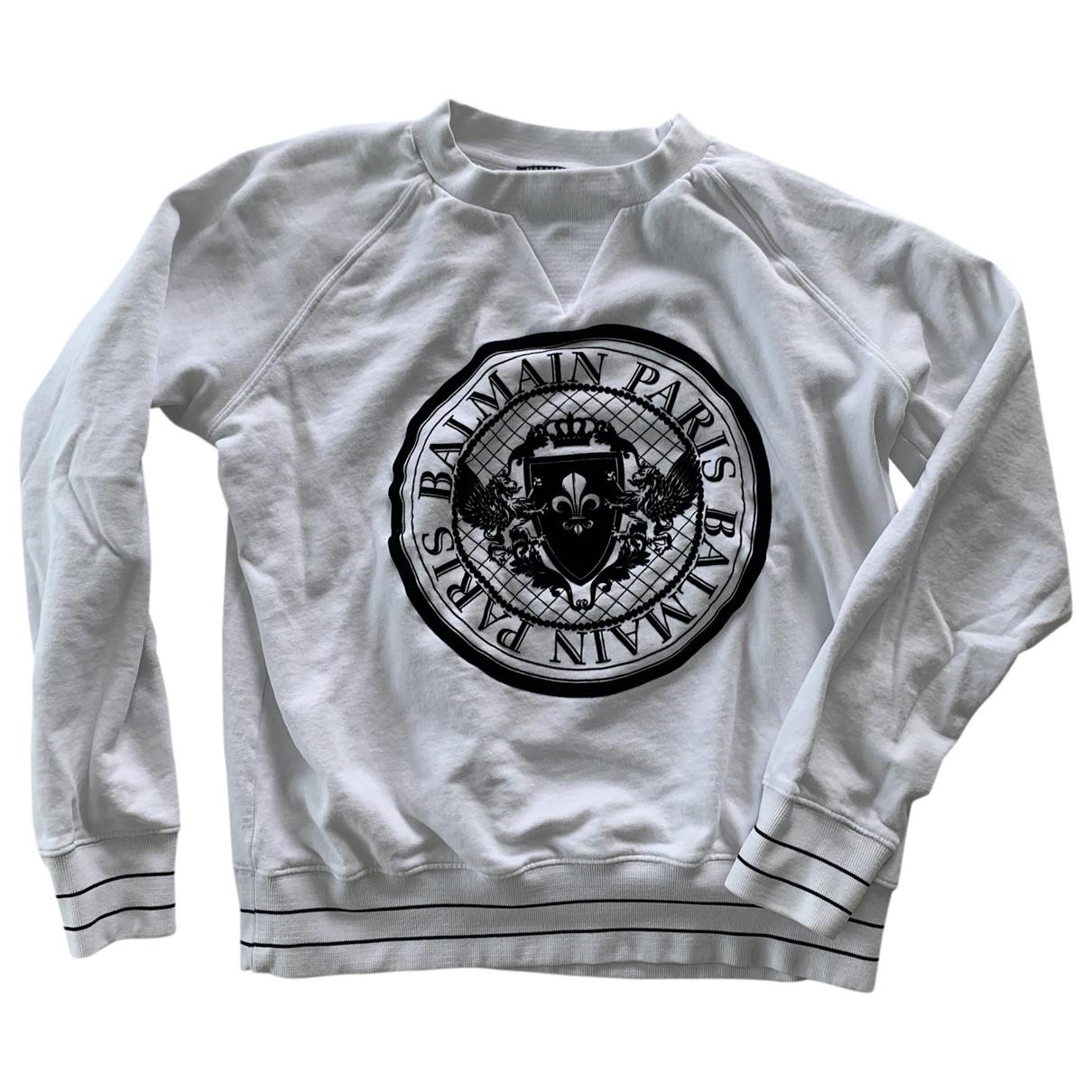 Balmain \N Pullover.Westen.Sweatshirts  in  Weiss Baumwolle