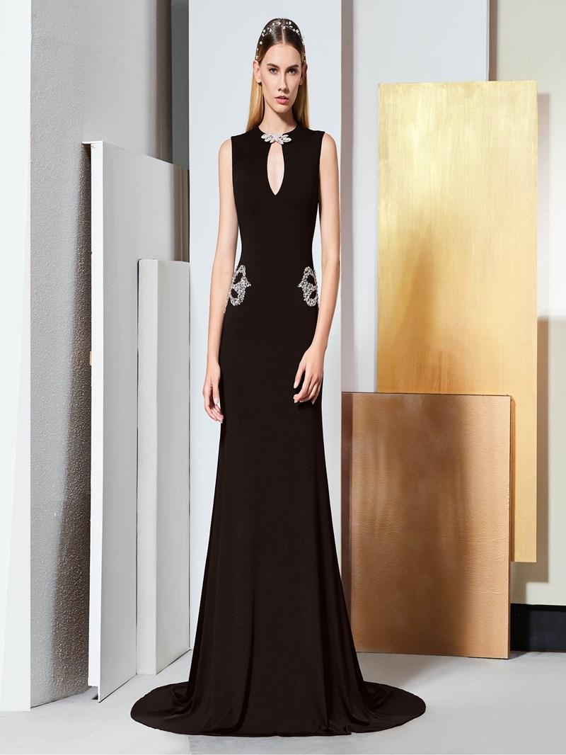 Ericdress Scoop Neck Beaded Black Mermaid Evening Dress