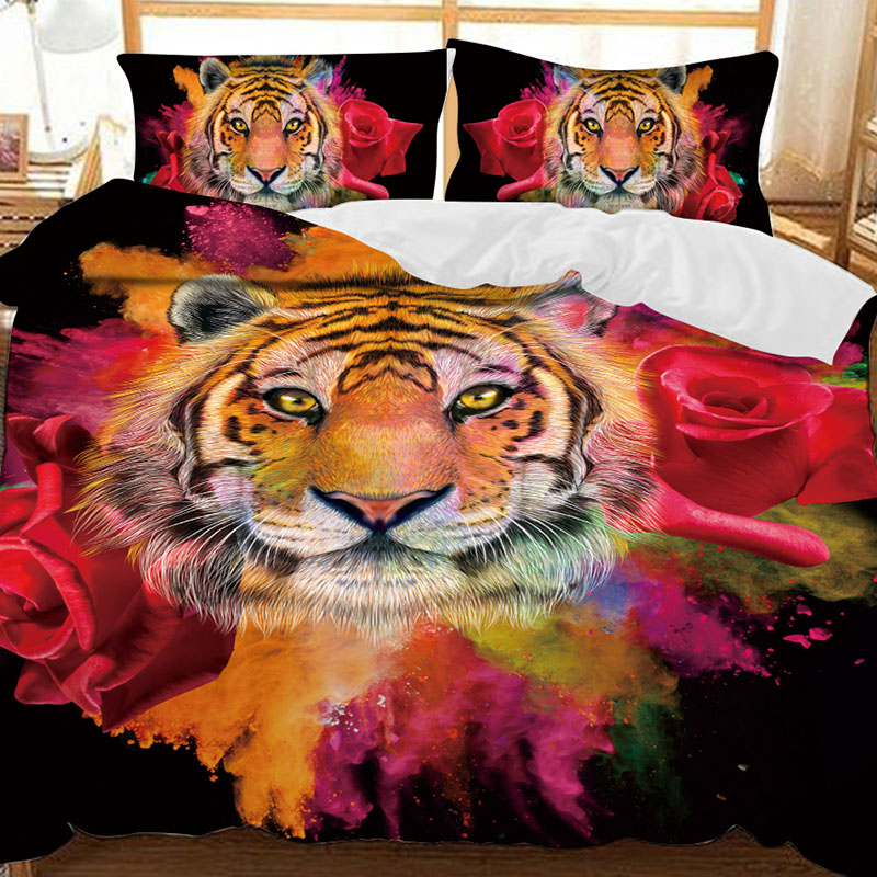 Tiger And Red Roses Soft 3D Printed Polyester 3-Piece Bedding Sets/Duvet Covers