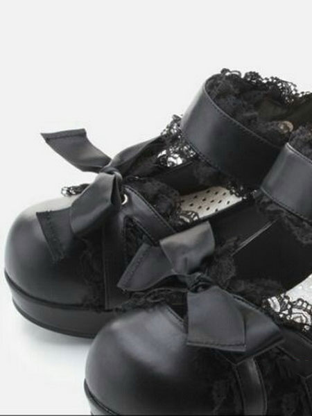 Milanoo Sweet Lolita Shoes Dark Navy Lace Square Toe Bows PU Chunky Heel Lolita Pump Shoes