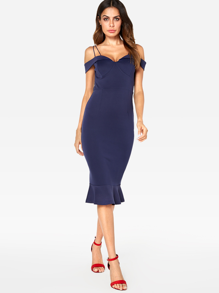 Yoins Navy Off The Shoulder V Neck Sleeveless Party Dress