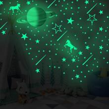 Kinder leuchtener Wandaufkleber mit Planet Muster