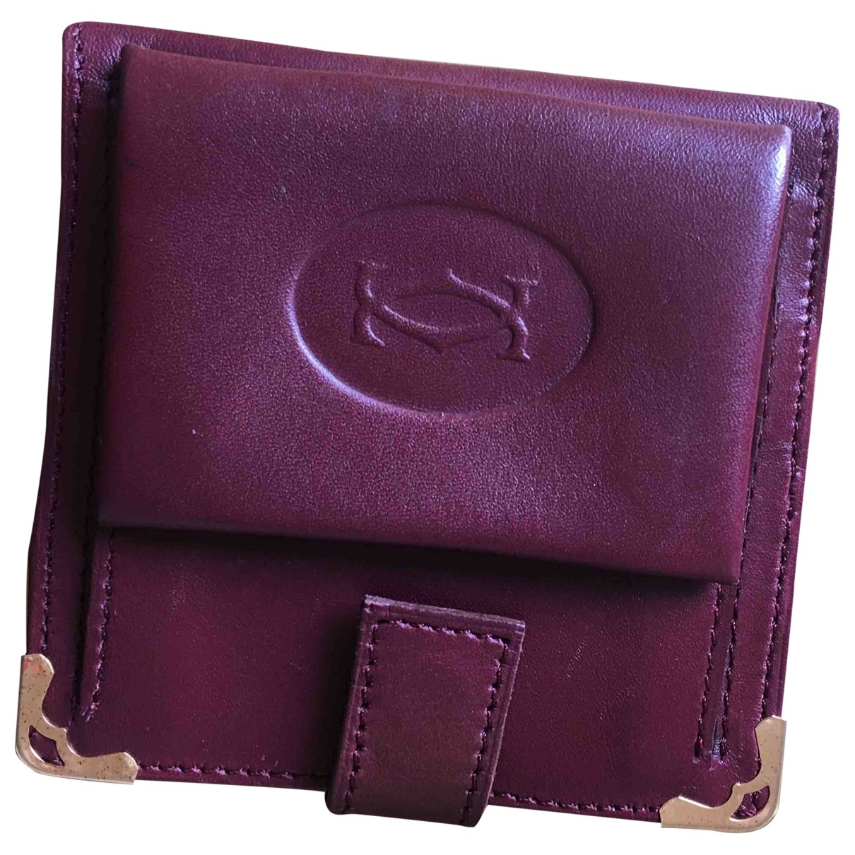 Cartier \N Burgundy Leather Small bag, wallet & cases for Men \N