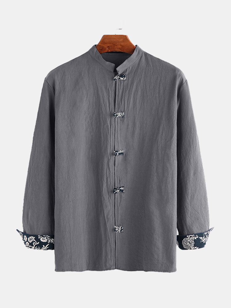 Mens Ethnic Chinese Style Solid Color Long Sleeve Shirts