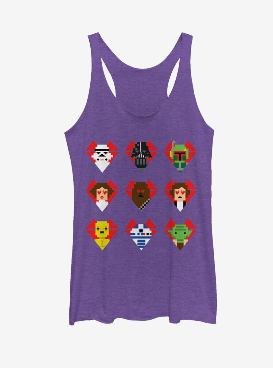 Star Wars Valentine's Day Character Hearts Womens Tank Top