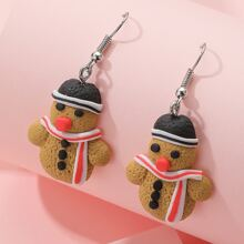 Christmas Snowman Charm Drop Earrings