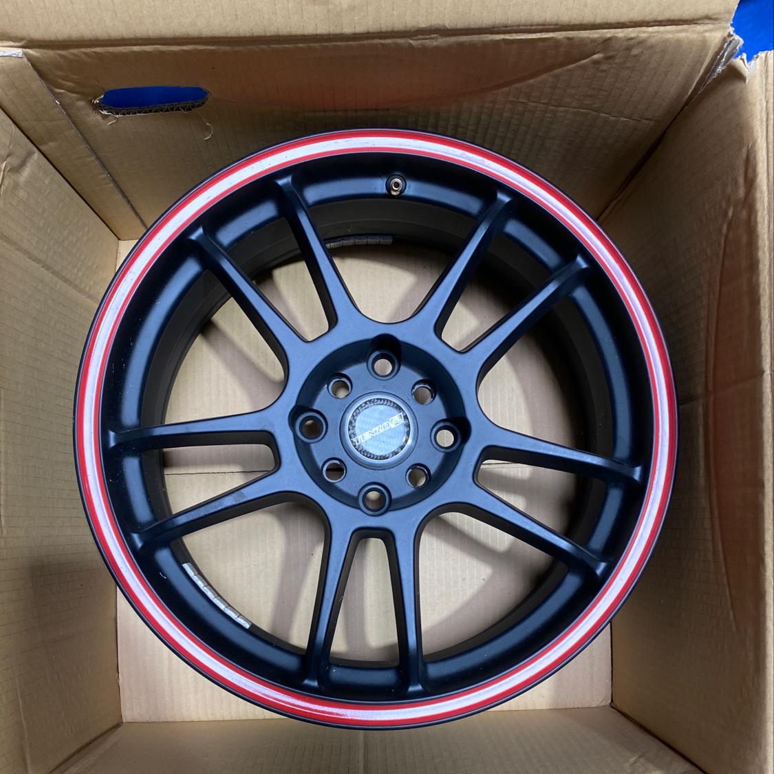 Tenzo Wheels 17x7 4x100/4x114.3 42mm Black Red Ring Set of 4 CLEARANCE