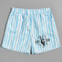 Shorts mit Streifen & Buchstaben Muster