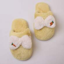 Girls Bow Decor Fluffy Slippers