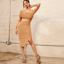 Asymmetrical Neck Cut Out Waist Ruched Side Split Thigh Dress