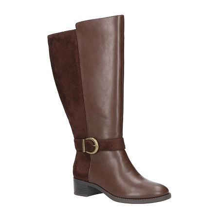 Easy Street Womens Victoria Plus Plus Booties Block Heel, 9 Extra Wide, Brown