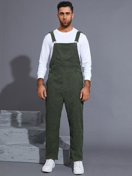 Yoins Men Streetwear Solid Color Corduroy Bib Suspenders Jumpsuits