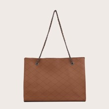 Quilted Chain Tote Bag With Purse