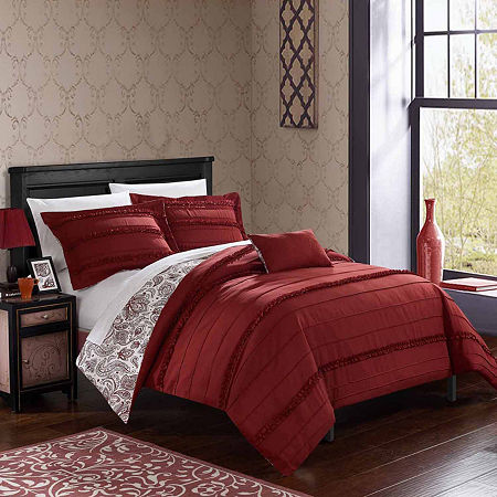 Chic Home Eliza Embroidered Duvet Cover Set, One Size , Red