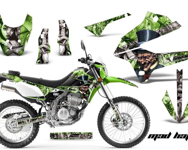 AMR Racing Dirt Bike Decals Graphics Kit Sticker Wrap For Kawasaki KLX250 2008-2018áHATTER SILVER GREEN