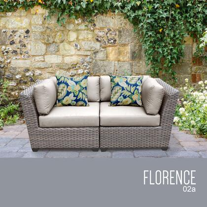 FLORENCE-02a-BEIGE Florence 2 Piece Outdoor Wicker Patio Furniture Set 02a with 2 Covers: Grey and