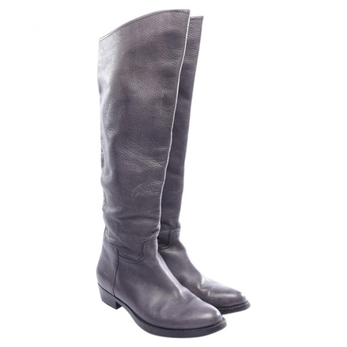 Santoni \N Stiefel in  Grau Leder