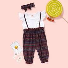Baby Girl Tribal Print 2 In 1 Jumpsuit & Headband