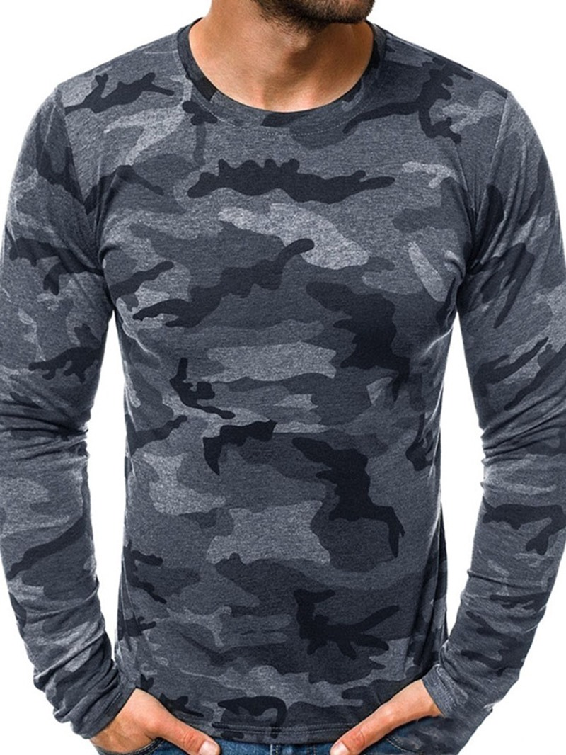 Ericdress Round Neck Camouflage Print Straight Long Sleeve T-shirt
