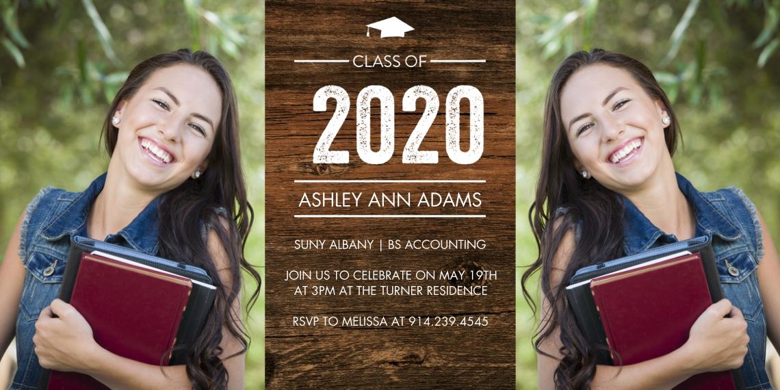 2020 Graduation Invitations Flat Glossy Photo Paper Cards with Envelopes, 4x8, Card & Stationery -2020 Grad Basic Cap by Tumbalina