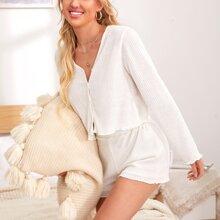 Button Front Rib-knit Top & Shorts PJ Set