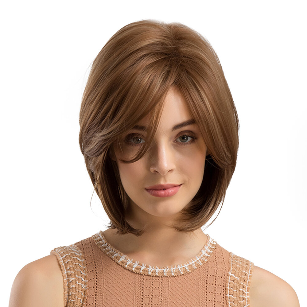 Synthetic Wigs Dark Brown Medium Length Straight Artificial Hair Wigs High Temperature Wire Wigs