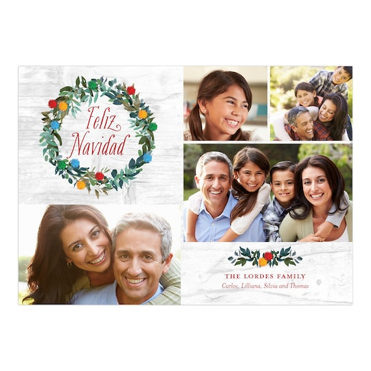 Gartner Studios® Personalized Feliz Poms Feliz Navidad Photo Card | Michaels®