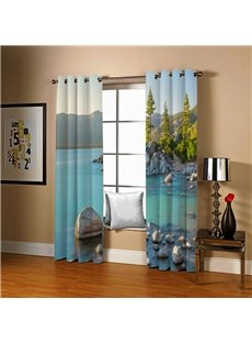 Blackout 3D Natural Scenery Curtains Blue Lake and Green Mountain Print 200 Gram Weight 80% Shading Rate No Pilling No Fading Machine Washable Quick-D