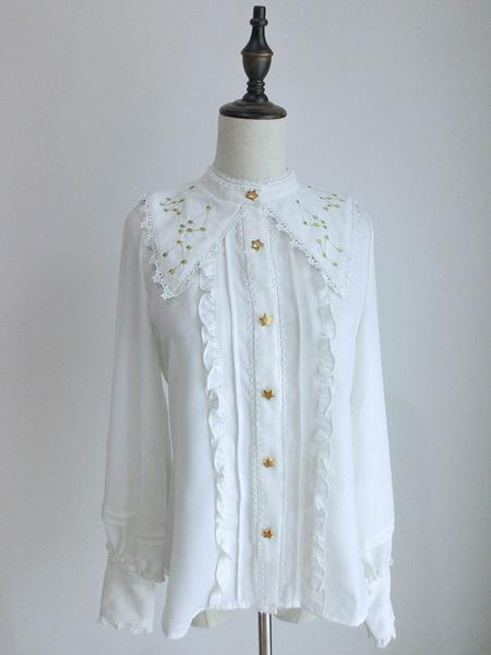 Milanoo Classic Lolita Shirt Lace Ruffle Embroidered Chiffon White Lolita Blouse