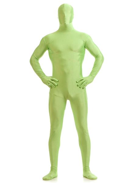 Milanoo Disfraz Halloween Verde Lycra Spandex Zentai traje para los hombres Halloween