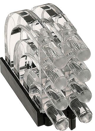 Mentor GmbH 1279.1002 MENTOR, PCB Mounted 8-Way Right Angle LED Light Pipe, Quad-Level-Row Clear Dome Lens (2)