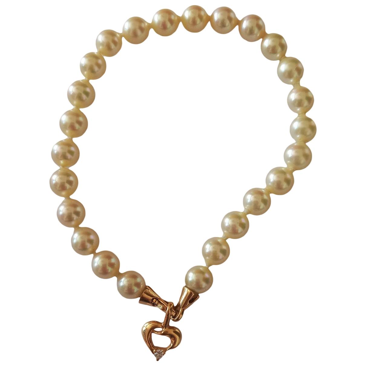 Non Signe / Unsigned \N Armband in  Ecru Perlen