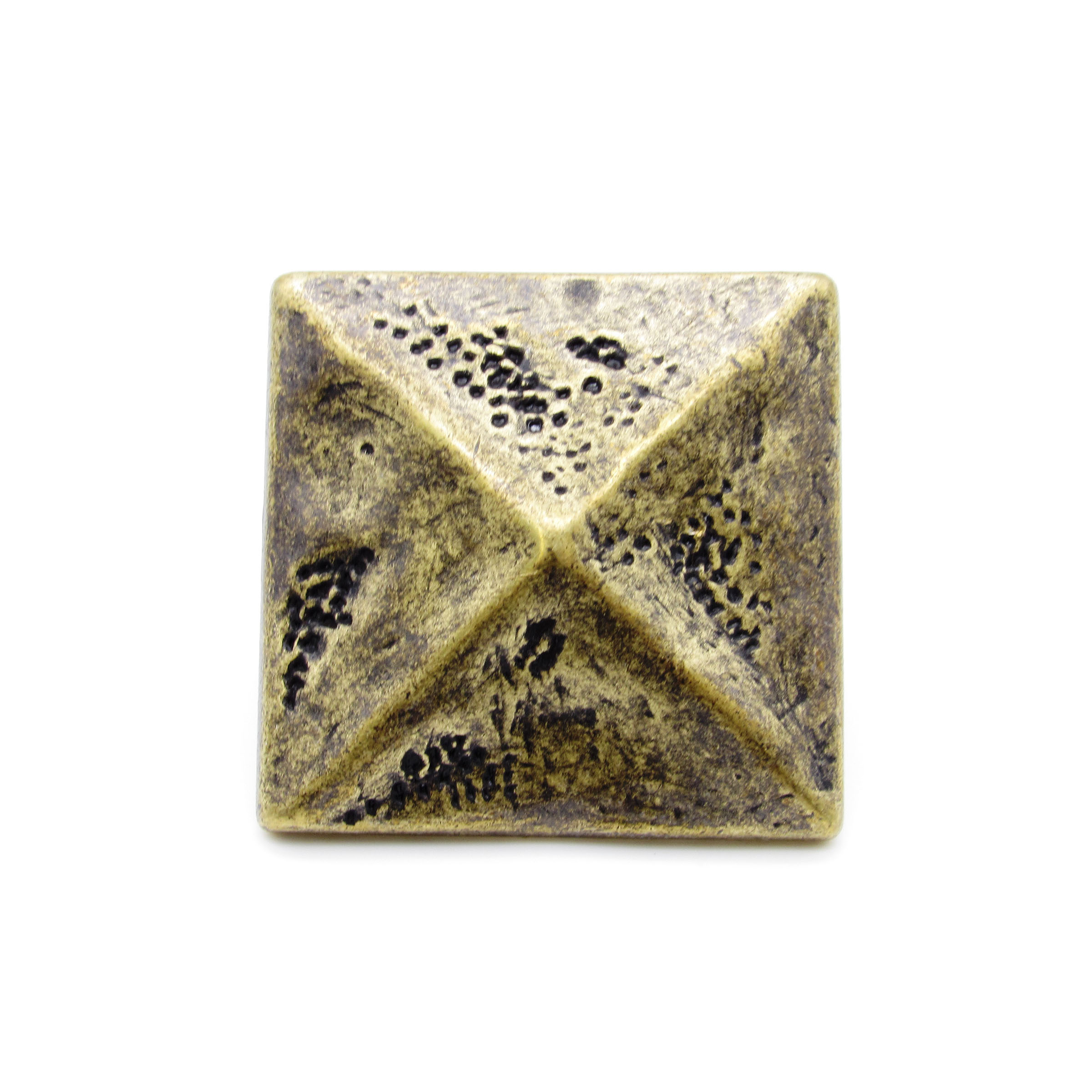 """Square 1-3/8"""" Pyramid Clavo Decorative Nail, 8-Pack, Brass Oxide"""
