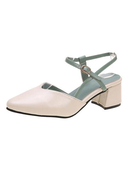 Milanoo Women Sandals Chunky Heel Buckle Academic Sandals Strap Adjustable Pointed Toe Sandals