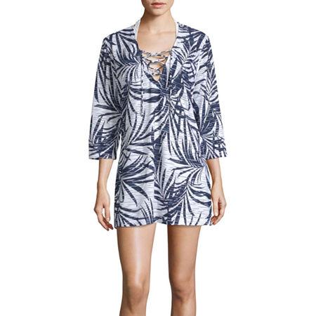 Porto Cruz Leaf Dress Swimsuit Cover-Up, Large , White